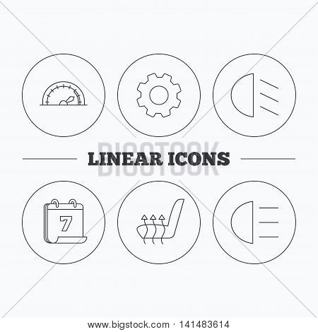 Speedometer, passing fog lights and heated seat icons. High beams linear sign. Flat cogwheel and calendar symbols. Linear icons in circle buttons. Vector