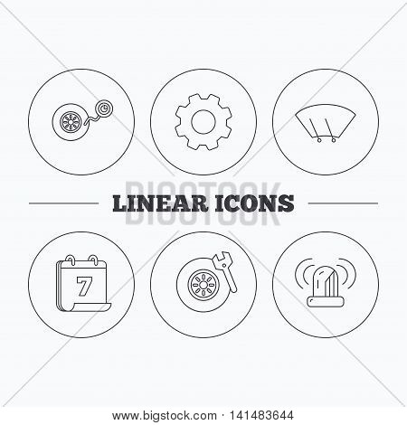 Wheel pressure, tire service and siren alarm icons. Car repair service station linear sign. Flat cogwheel and calendar symbols. Linear icons in circle buttons. Vector