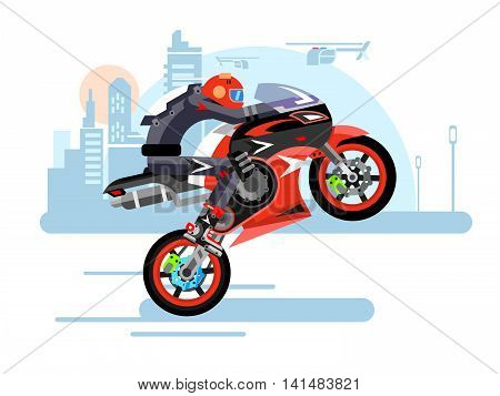 High-speed motorcycle rides on one wheel. Person in helmet, bike and extreme, danger and risk, vector illustration