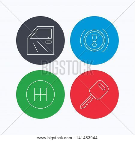 Car key, warning and manual gearbox icons. Car door, transmission linear signs. Linear icons on colored buttons. Flat web symbols. Vector