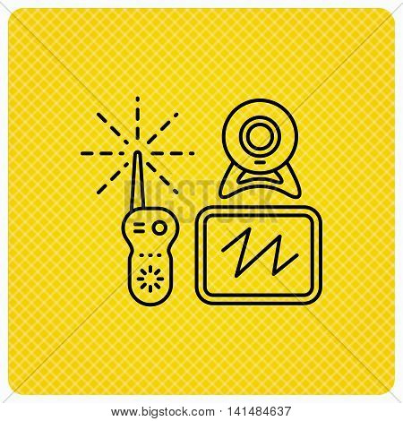 Baby monitor icon. Video nanny for newborn sign. Radio set with camera and tv symbol. Linear icon on orange background. Vector