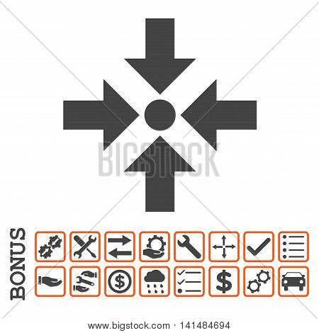 Shrink Arrows icon with bonus pictograms. Glyph style is flat iconic symbol, orange and gray colors, white background. Bonus style is bicolor square rounded frames with symbols inside.