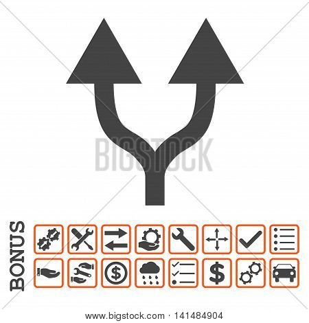 Split Arrows Up icon with bonus pictograms. Glyph style is flat iconic symbol, orange and gray colors, white background. Bonus style is bicolor square rounded frames with symbols inside.
