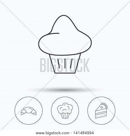 Croissant, brioche and piece of cake icons. Sweet muffin linear sign. Linear icons in circle buttons. Flat web symbols. Vector