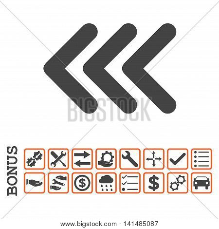 Triple Arrowhead Left icon with bonus pictograms. Glyph style is flat iconic symbol, orange and gray colors, white background. Bonus style is bicolor square rounded frames with symbols inside.
