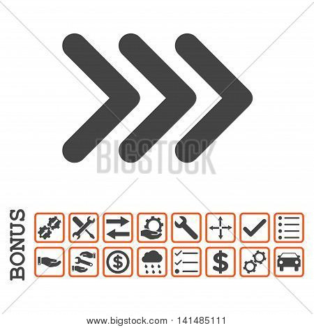 Triple Arrowhead Right icon with bonus pictograms. Glyph style is flat iconic symbol, orange and gray colors, white background. Bonus style is bicolor square rounded frames with symbols inside.