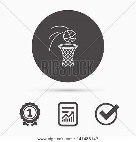 Basketball icon. Basket with ball sign. Professional sport equipment symbol. Report document, winner award and tick. Round circle button with icon. Vector