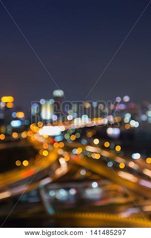 Blurred lights night view city and highway interchanged at night, Abstract background