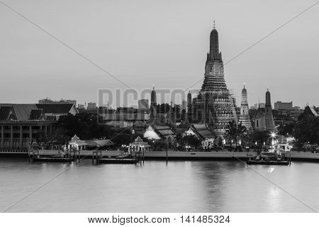 Black and White, Arun temple water front, the most famous landmark of Thailand
