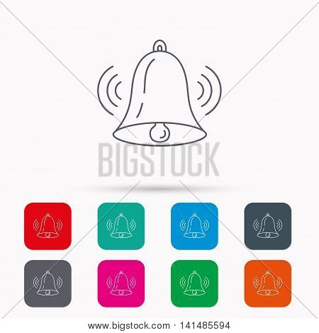 Ringing bell icon. Sound sign. Alarm handbell symbol. Linear icons in squares on white background. Flat web symbols. Vector