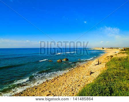 View at the beach in Caesarea Israel