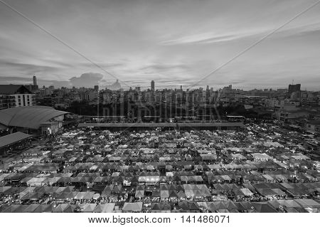 Black and White, Aerial view of flea market with beautiful sky after sunset