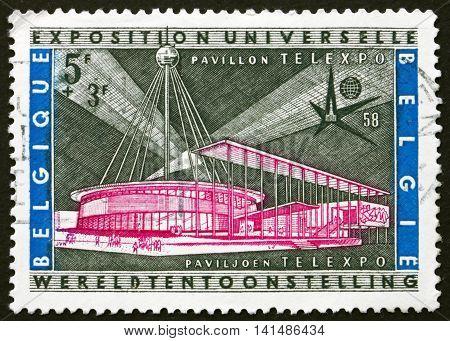 BELGIUM - CIRCA 1958: a stamp printed in the Belgium shows Telexpo Pavilion, Worlds Fair, Brussels, circa 1958