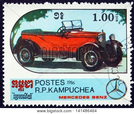 CAMBODIA - CIRCA 1986: a stamp printed in Cambodia shows Convertible Mercedes-Benz Automobile circa 1986
