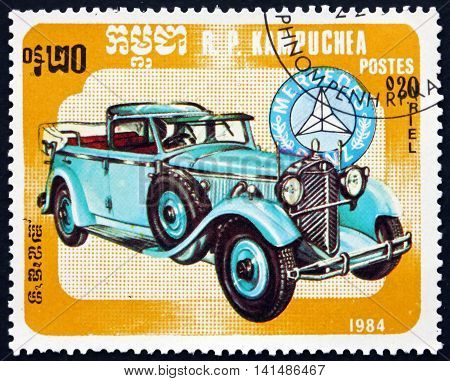 CAMBODIA - CIRCA 1984: a stamp printed in Cambodia shows Mercedes-Benz Classic Car circa 1984
