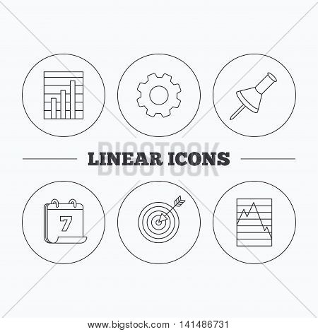 Pushpin, graph charts and target icons. Supply and demand linear signs. Flat cogwheel and calendar symbols. Linear icons in circle buttons. Vector