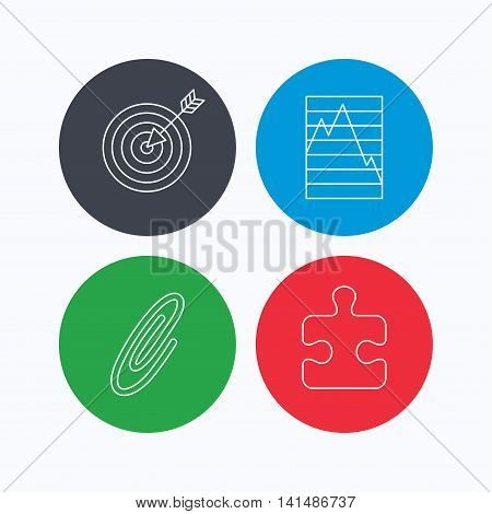 Puzzle, graph charts and target icons. Safety pin linear sign. Linear icons on colored buttons. Flat web symbols. Vector