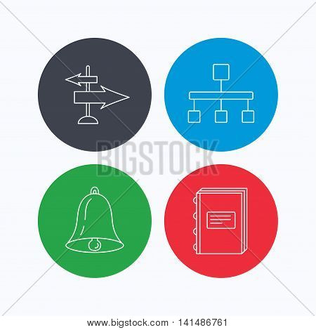 Book, hierarchy and direction arrows icons. Alarm bell linear sign. Linear icons on colored buttons. Flat web symbols. Vector