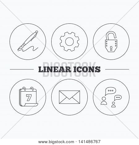 Dialog, mail envelope and open lock icons. Pen linear sign. Flat cogwheel and calendar symbols. Linear icons in circle buttons. Vector