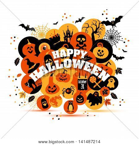 Helloween backgrouns set of color icons. Autumn design vector illustration.