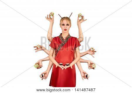multihanded beautiful girl with sushi isolated on white background