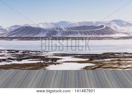 Opening wooden floor, Winter Scene in Myvatn Volcano, Iceland, natural landscape background