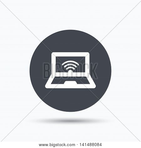 Computer with wifi icon. Notebook or laptop pc symbol. Flat web button with icon on white background. Gray round pressbutton with shadow. Vector