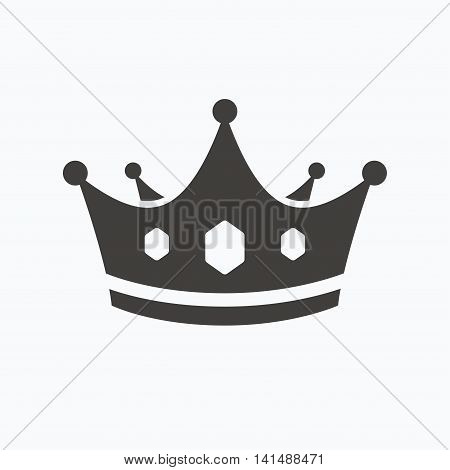 Crown icon. Royal throne leader symbol. Gray flat web icon on white background. Vector