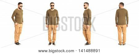 Full Length Portrait Of Hipster Isolated