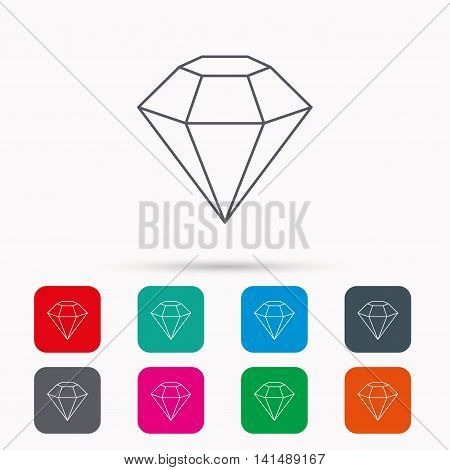 Diamond icon. Brilliant gemstone sign. Linear icons in squares on white background. Flat web symbols. Vector