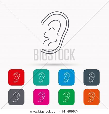 Ear icon. Hear or listen sign. Deaf human symbol. Linear icons in squares on white background. Flat web symbols. Vector