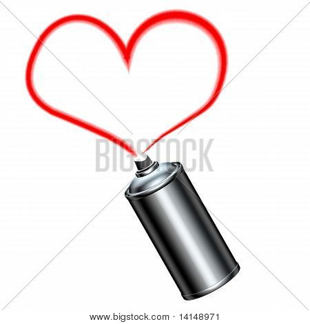 Spray Can Spraying A Red Heart