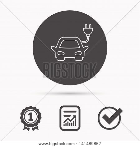 Electric car icon. Hybrid auto transport sign. Report document, winner award and tick. Round circle button with icon. Vector