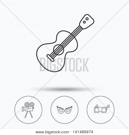 Guitar music, video camera and theatre mask icons. 3d glasses linear sign. Linear icons in circle buttons. Flat web symbols. Vector