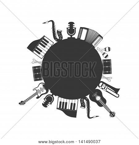 guitar trumpet piano saxophone maraca drum instrument music sound icon. Isolated and flat illustration. Vector graphic