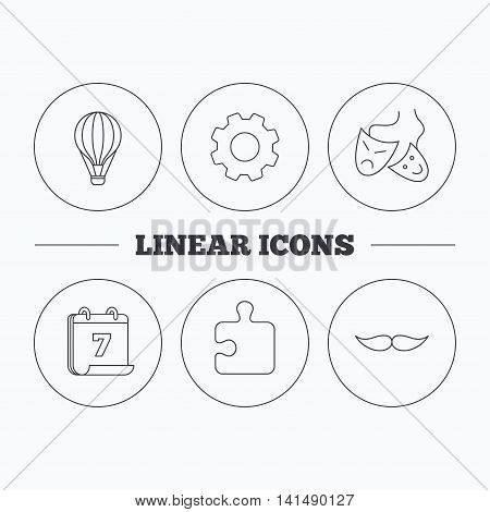 Puzzle, air balloon and theater masks. Mustache linear sign. Flat cogwheel and calendar symbols. Linear icons in circle buttons. Vector