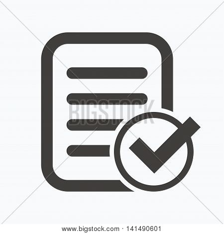 File selected icon. Document page with check symbol. Gray flat web icon on white background. Vector