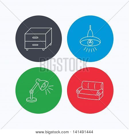Sofa, table lamp and nightstand icons. Ceiling lamp linear sign. Linear icons on colored buttons. Flat web symbols. Vector