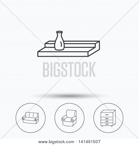 Sofa, wall shelf and armchair icons. Chest of drawers linear sign. Linear icons in circle buttons. Flat web symbols. Vector