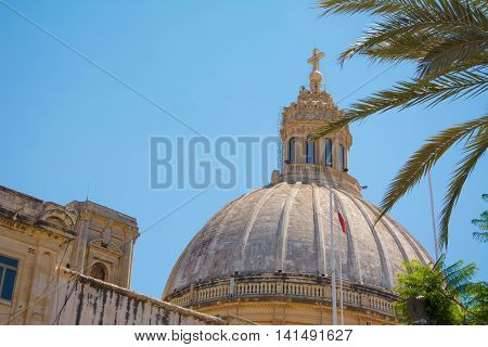 Close up view of the dome of a Church in Valletta, Malta.
