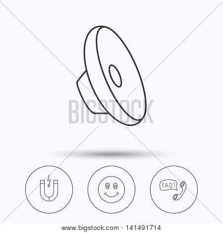 Magnet, smiling face and faq speech bubble icons. Sound linear sign. Linear icons in circle buttons. Flat web symbols. Vector
