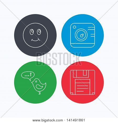 Photo camera, floppy disk and message icons. Smiling face linear sign. Linear icons on colored buttons. Flat web symbols. Vector