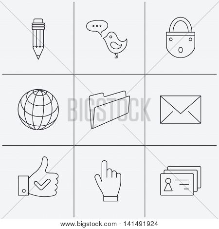 Pencil, press hand and world globe icons. Bird message, social network and mail linear signs. Contacts, like and folder icons. Linear icons on white background. Vector