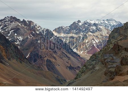 Mountains in Aconcagua national park. Andes, Argentina