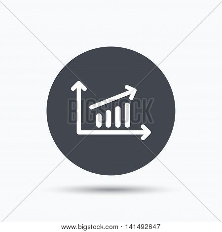 Growing graph icon. Business analytics chart symbol. Flat web button with icon on white background. Gray round pressbutton with shadow. Vector