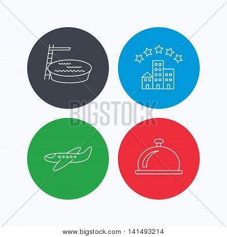 Hotel, swimming pool and airplane icons. Reception bell linear sign. Linear icons on colored buttons. Flat web symbols. Vector