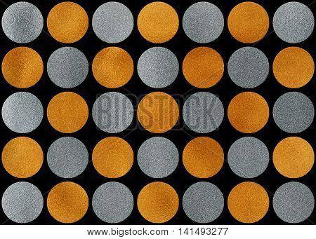 Golden And Silver Polka Dot Background.