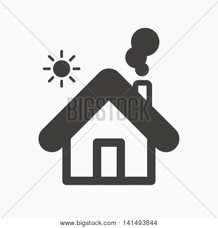Home icon. House building symbol. Real estate construction. Gray flat web icon on white background. Vector