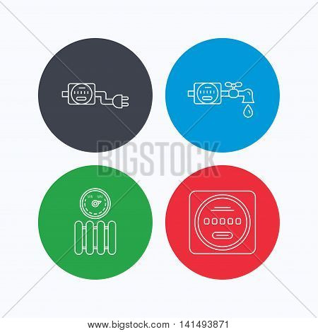 Electricity, radiator and water counter icons. Counter linear sign. Linear icons on colored buttons. Flat web symbols. Vector