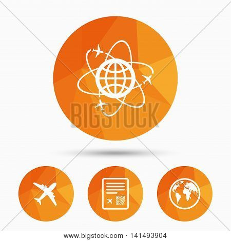 Airplane icons. World globe symbol. Boarding pass flight sign. Airport ticket with QR code. Triangular low poly buttons with shadow. Vector